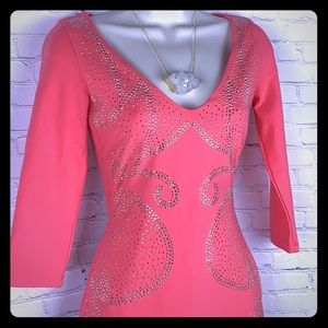 ✨Stunning Coral w/Silver & Gold beads Bebe Dress